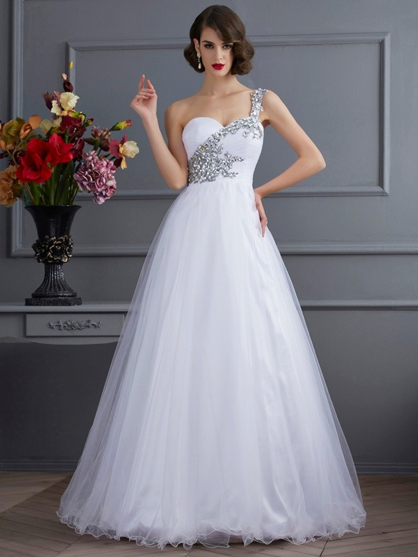 Ball Gown Sleeveless One-Shoulder Beading Floor-Length Elastic Woven Satin Dresses