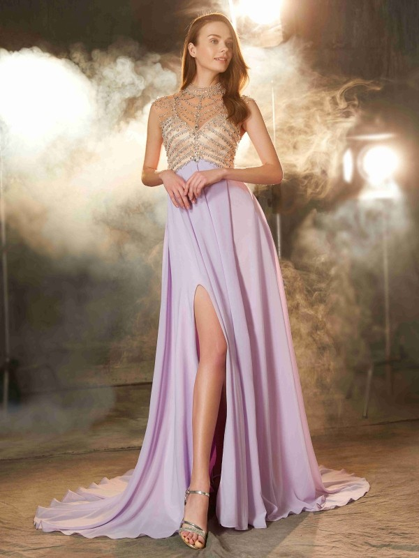 A-Line/Princess Sleeveless High Neck Crystal Sweep/Brush Train Chiffon Dresses