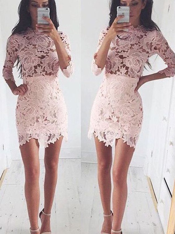 A-Line/Princess 1/2 Sleeves Scoop Short/Mini Lace Dresses