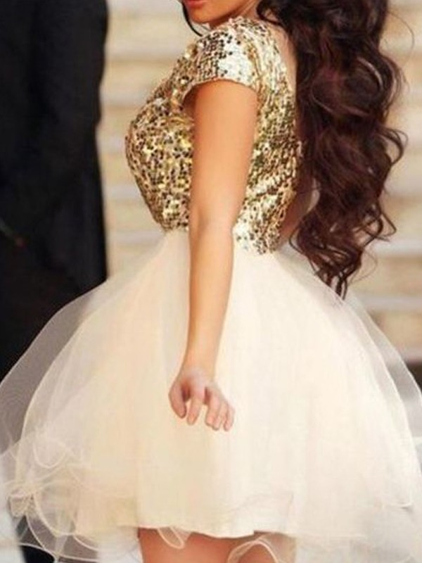 A-Line/Princess Sleeveless Scoop Sequin Short/Mini Tulle Dresses