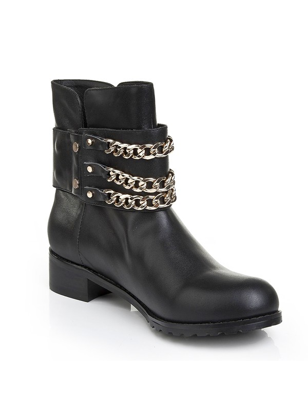 Women's Cattlehide Leather Kitten Heel With Chain Booties/Ankle Black Boots