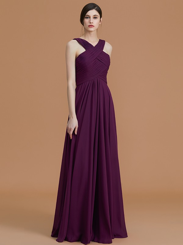 215324bf12 A-Line Princess Sleeveless Halter Ruched Floor-Length Chiffon ...