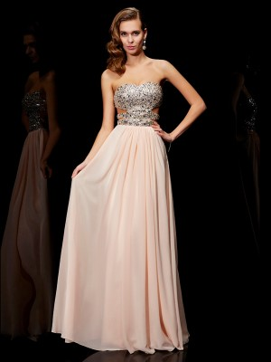 A-Line/Princess Sleeveless Sweetheart Rhinestone Floor-Length Chiffon Dresses