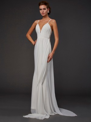 Trumpet/Mermaid Sleeveless V-neck Ruffles Floor-Length Chiffon Dresses