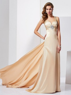 Sheath/Column Sleeveless Halter Ruffles Sweep/Brush Train Silk like Satin Dresses