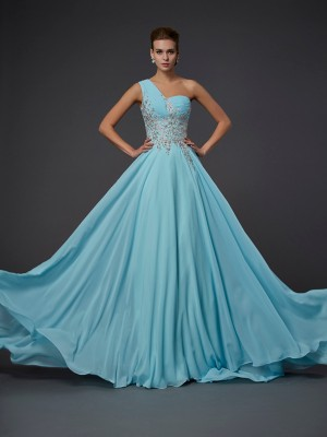 A-Line/Princess Sleeveless One-Shoulder Ruffles Floor-Length Chiffon Dresses