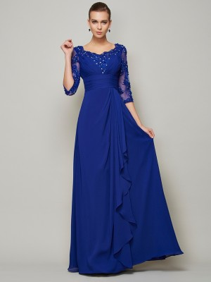 A-Line/Princess 3/4 Sleeves Scoop Lace Floor-Length Chiffon Mother of the Bride Dresses