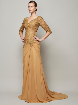 Sheath/Column 1/2 Sleeves V-neck Lace Floor-Length Chiffon Dresses