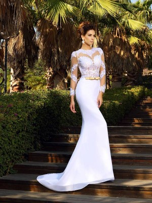 Sheath/Column Long Sleeves Scoop Applique Court Train Satin Wedding Dresses