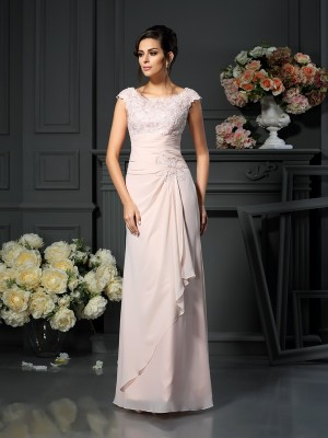 A-Line/Princess Sleeveless Scoop Lace Floor-Length Chiffon Mother of the Bride Dresses