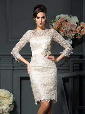 Sheath/Column 3/4 Sleeves Scoop Bowknot Short/Mini Lace Mother of the Bride Dresses