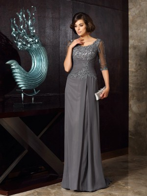 A-Line/Princess 1/2 Sleeves Scoop Beading Sweep/Brush Train Chiffon Mother of the Bride Dresses