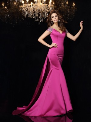 Trumpet/Mermaid Sleeveless Off-the-Shoulder Beading Court Train Satin Dresses