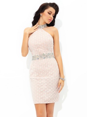 Sheath/Column Sleeveless Halter Beading Short/Mini Satin Dresses