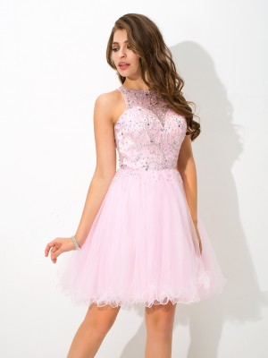 A-Line/Princess Sleeveless Sheer Neck Beading Short/Mini Net Dresses