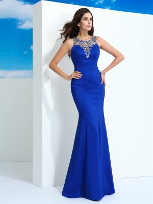 Sheath/Column Sleeveless Sheer Neck Beading Floor-Length Chiffon Dresses