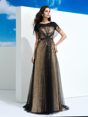 A-Line/Princess Short Sleeves Sheer Neck Paillette Floor-Length Net Dresses