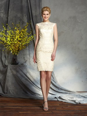 Sheath/Column Short Sleeves Bateau Short/Mini Elastic Woven Satin Mother of the Bride Dresses