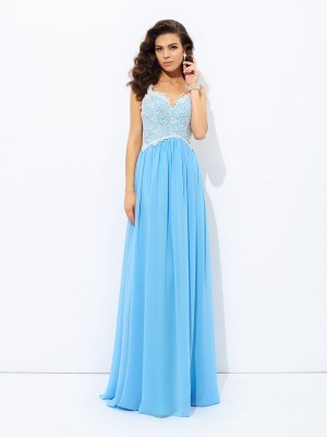 A-Line/Princess Sleeveless V-neck Lace Floor-Length Chiffon Dresses