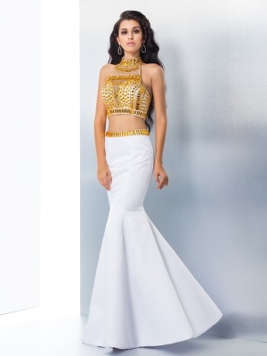 Trumpet/Mermaid Sleeveless High Neck Beading Floor-Length Satin Two Piece Dresses