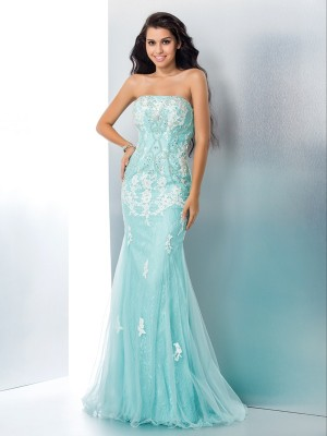 Trumpet/Mermaid Sleeveless Strapless Applique Sweep/Brush Train Lace Dresses