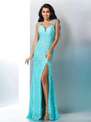 Trumpet/Mermaid Sleeveless Sweetheart Beading Floor-Length Lace Dresses