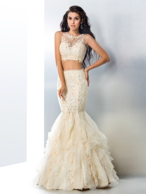 Trumpet/Mermaid Sleeveless Sheer Neck Beading Floor-Length Tulle Two Piece Dresses