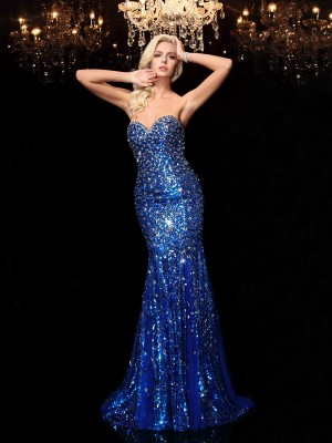 Trumpet/Mermaid Sleeveless Sweetheart Sequin Court Train Sequins Dresses