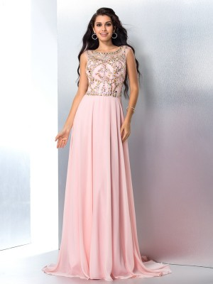 A-Line/Princess Sleeveless Scoop Beading Sweep/Brush Train Chiffon Dresses