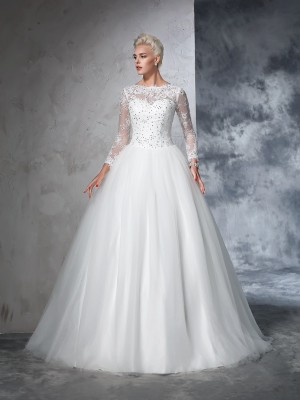 Ball Gown Long Sleeves Bateau Lace Sweep/Brush Train Net Wedding Dresses