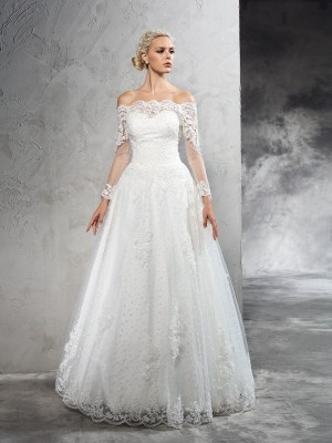 Ball Gown Long Sleeves Off-the-Shoulder Lace Floor-Length Net Wedding Dresses