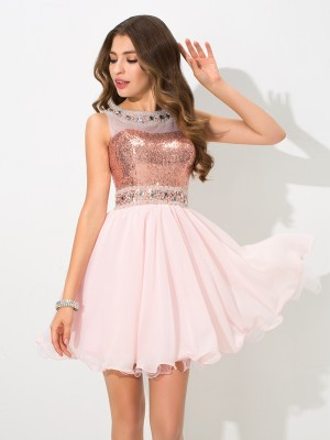 A-Line/Princess Sleeveless Sheer Neck Sequin Short/Mini Chiffon Dresses