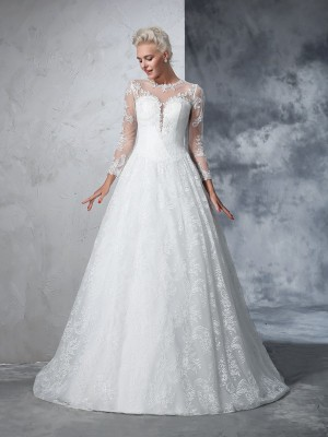 Ball Gown Long Sleeves Jewel Lace Court Train Lace Wedding Dresses