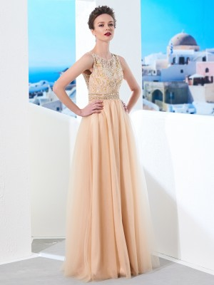 A-Line/Princess Sleeveless Scoop Beading Floor-Length Tulle Dresses