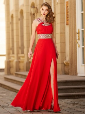 A-Line/Princess Sleeveless Scoop Beading Floor-Length Chiffon Dresses