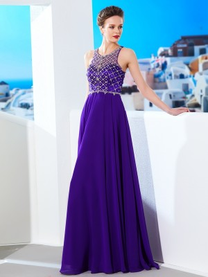 A-Line/Princess Sleeveless Scoop Crystal Floor-Length Chiffon Dresses