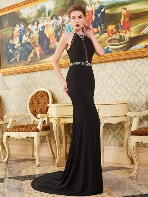 Sheath/Column Sleeveless High Neck Beading Sweep/Brush Train Spandex Dresses