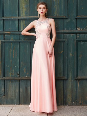 A-Line/Princess Sleeveless Scoop Beading Floor-Length Satin Dresses