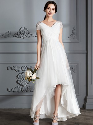 A-Line/Princess Short Sleeves V-neck Asymmetrical Tulle Wedding Dresses