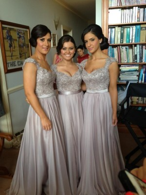 A-Line/Princess Short Sleeves V-neck Beading Floor-Length Chiffon Bridesmaid Dresses
