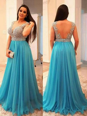 A-Line/Princess Sleeveless V-neck Beading Sweep/Brush Train Chiffon Plus Size Dresses