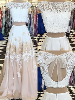 A-Line/Princess Sleeveless Bateau Lace Floor-Length Chiffon Two Piece Dresses