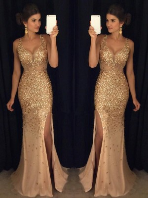 Sheath/Column Sleeveless V-neck Sequin Court Train Jersey Dresses