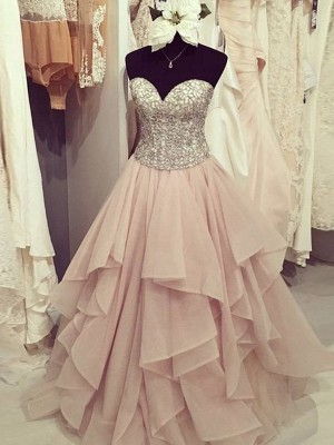 Ball Gown Sleeveless Sweetheart Beading Floor-Length Chiffon Dresses