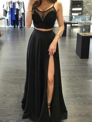 A-Line/Princess Sleeveless Spaghetti Straps Floor-Length Chiffon Two Piece Dresses