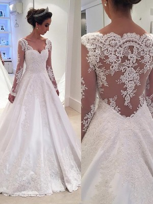 Ball Gown Long Sleeves V-neck Lace Court Train Satin Wedding Dresses