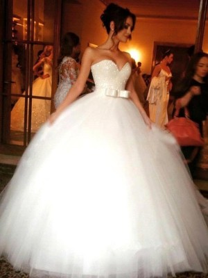 Ball Gown Sleeveless Sweetheart Bowknot Floor-Length Tulle Wedding Dresses