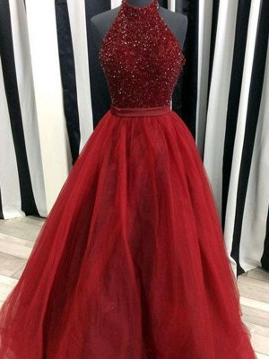 Ball Gown Sleeveless High Neck Beading Floor-Length Organza Dresses