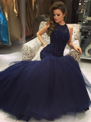 Trumpet/Mermaid Sleeveless Jewel Beading Floor-Length Tulle Dresses