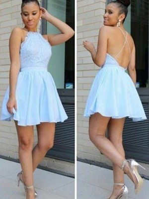 A-Line/Princess Sleeveless Halter Lace Short/Mini Chiffon Dresses